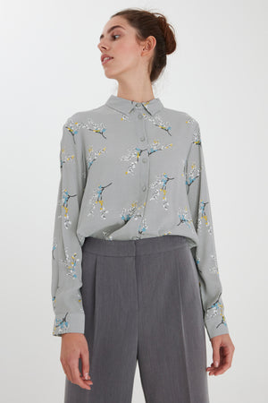 Floral Alloy Grey Ichi Blouse