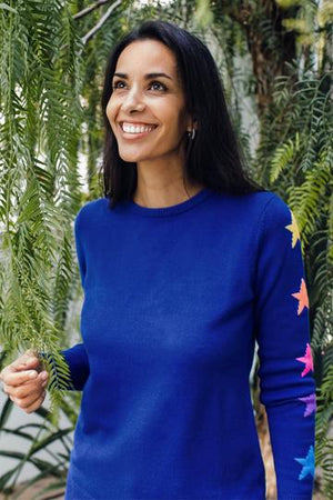 Sugarhill Stacey Jumper: Cobalt Blue, Rainbow Star Sleeve