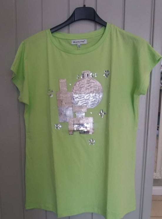Sequin Lime Green 'Penny' T-Shirt