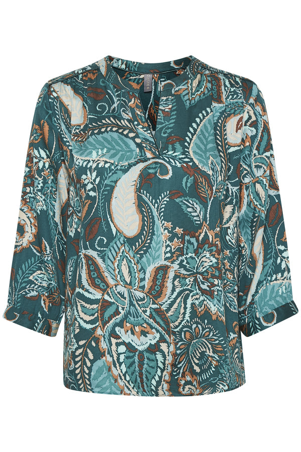 Culture Green Paisley Blouse with Long Sleeve