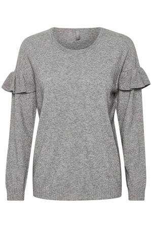 Culture ONeck Ruffle Grey Knit Jumper