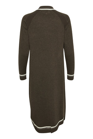 Culture Sweater Dress with Trim  - Navy & Coffee