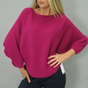 Deck  by Decollage Rib Knit Batwing Jumper  - Fuschia