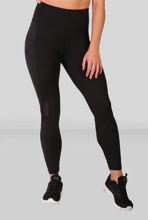 Fit Pink Sports Leggings With Deep Side Pockets in Black (Size down)