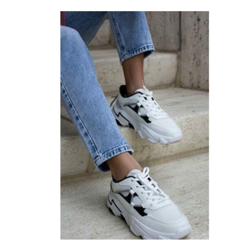 Zoe Black & White Trainer (Size Up))