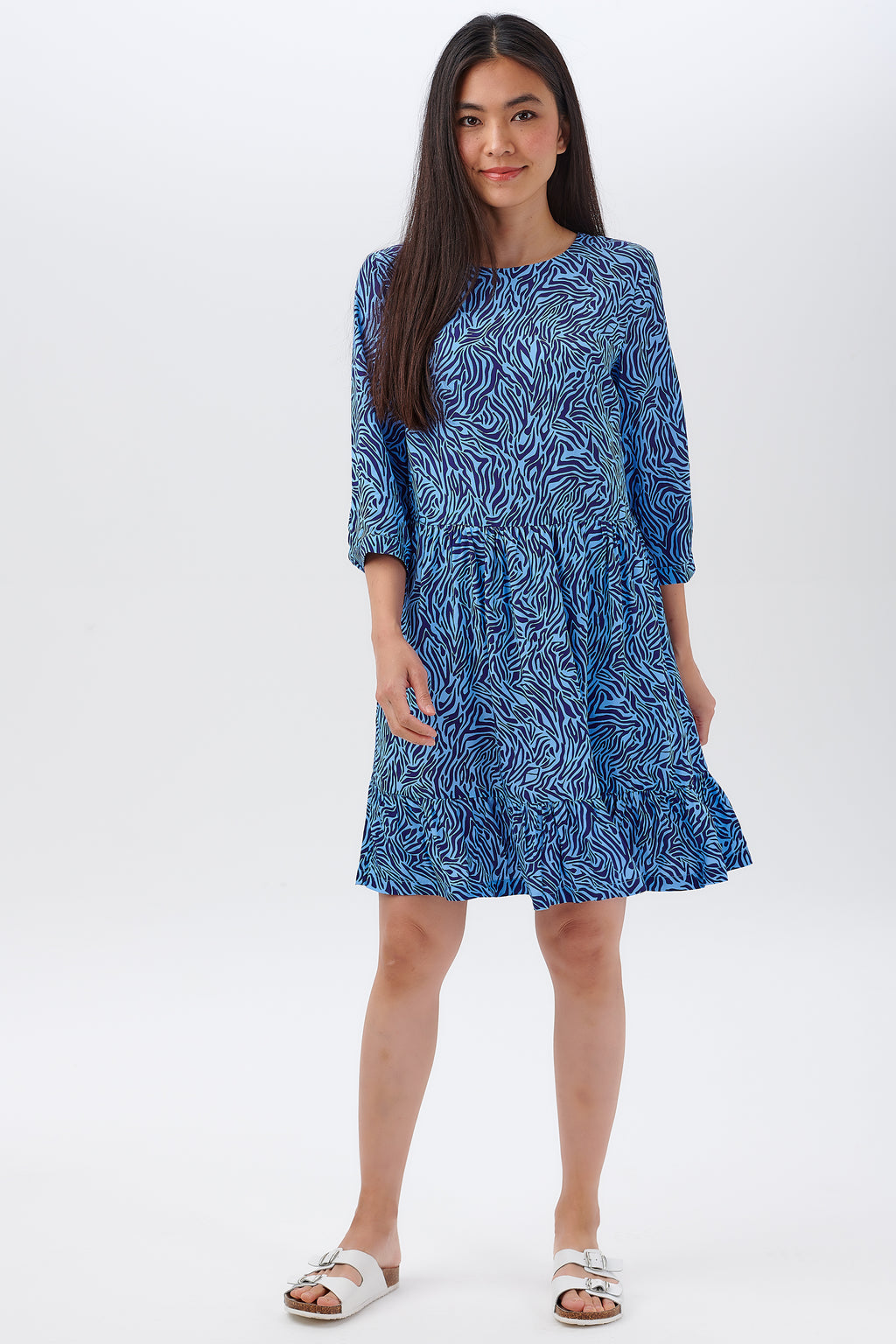 Nora Smock Dress Blues, Poolside Waves by Sugarhill