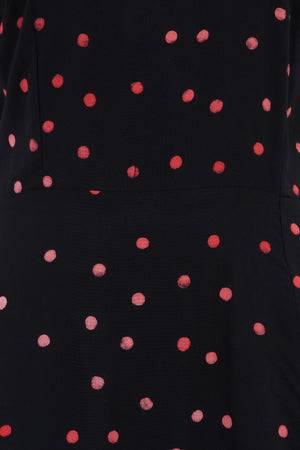 Robin Batik Midi Dress by Sugarhill - Black, Polka Dot