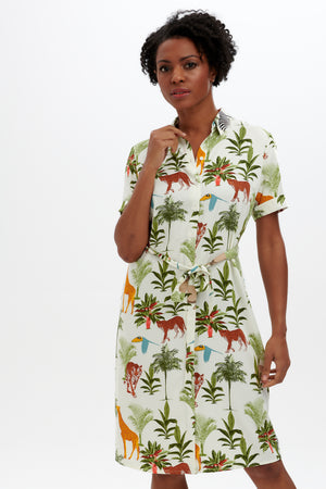Justine Shirt Dress by Sugarhill - Cream, Jungle Animals