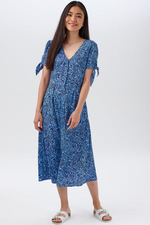Veronica Tea Dress by Sugarhill - Blues, Poolside Waves