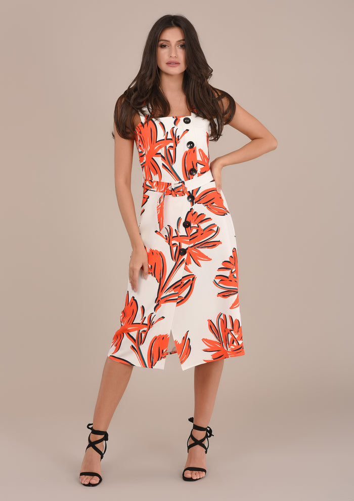 Sleeveless Printed Palm Tree Dress
