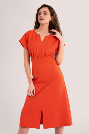 Closet Cap Sleeve Orange Tie Waist Dress