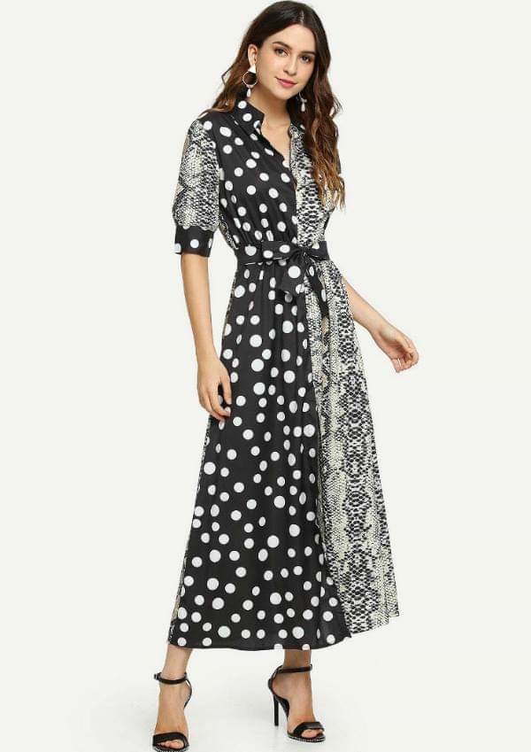 Snake Polka Dot Shirt Dress