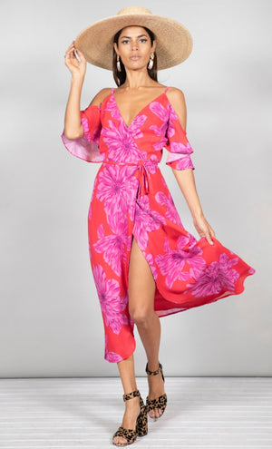 Ivy Dress Pink & Red Bloom Dancing Leopard