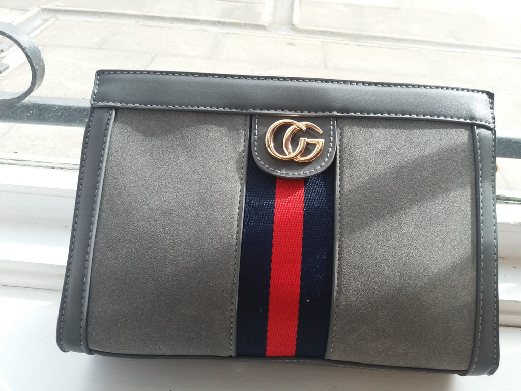 Grey G Suede Clutch Bag