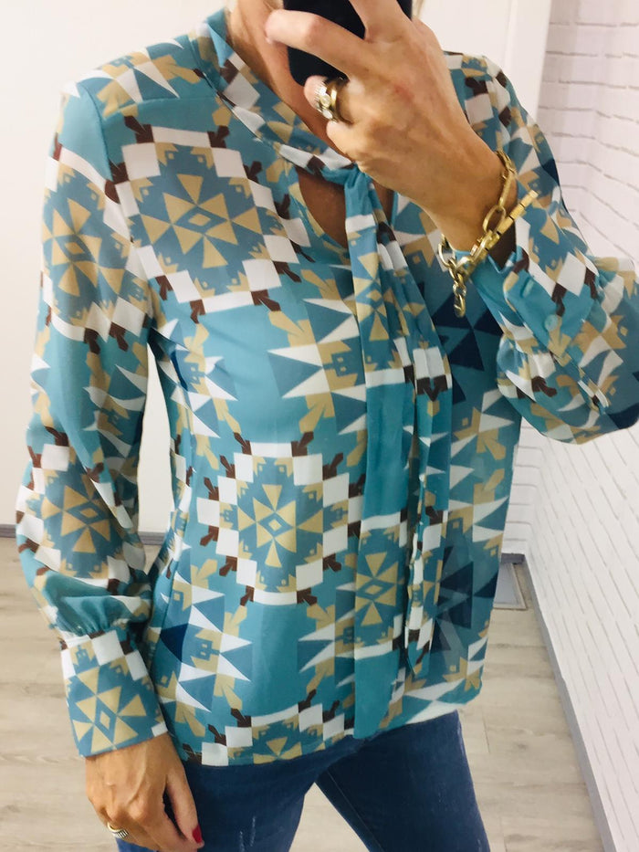 Chevron Print Blouse with Neck Tie - Jade