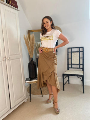 Fly Girl Brown Frill Midi Skirt