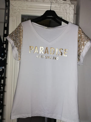 Paradise Short Sleeve V Neck T shirt  - White