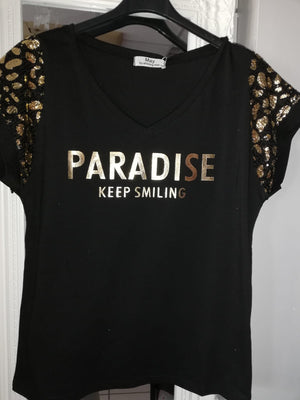 Paradise Short Sleeve V Neck T shirt Black