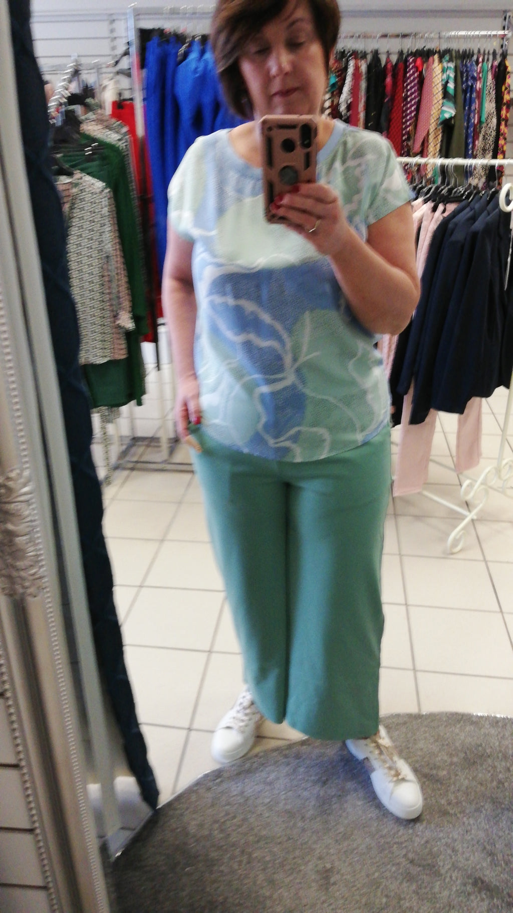 Mint Green Wide Leg Jog Pants