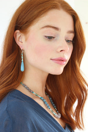 K Kajoux Jewels Dath Na Mara Blue Drop Earrings Short