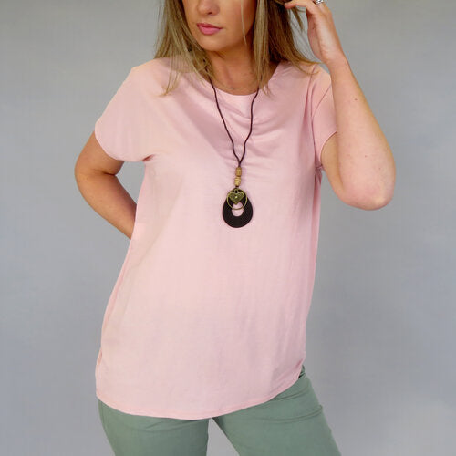 DECK  by Decollage T-Shirt with Necklace Soft Pink(One Size)