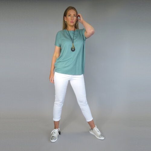 DECK  by Decollage T-Shirt with Necklace Teal