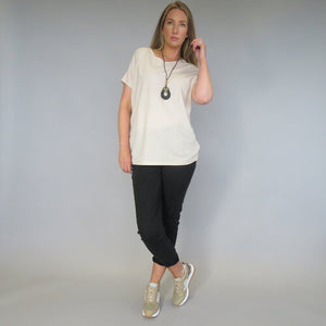 DECK  by Decollage T-Shirt with Necklace -Cream