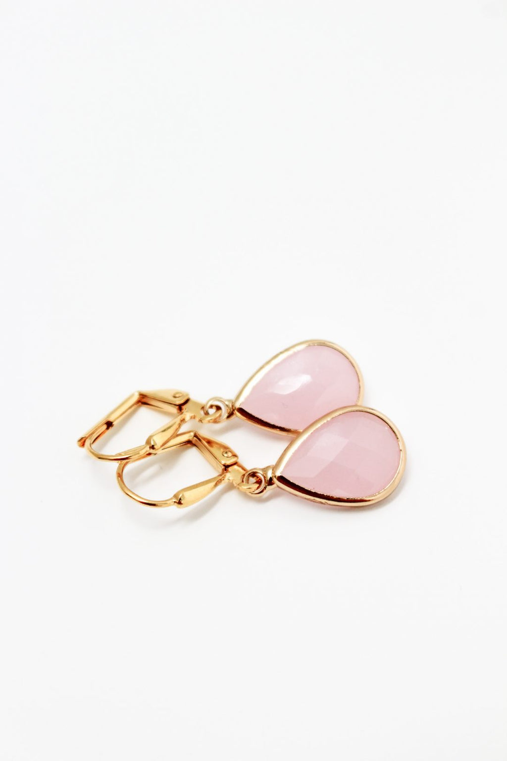 K Kajoux Ellie Teardrop Earrings  Pink Rose/ Gold Short