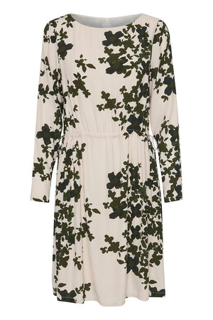 Ichi Dark Green Pattern Short Tie Dress
