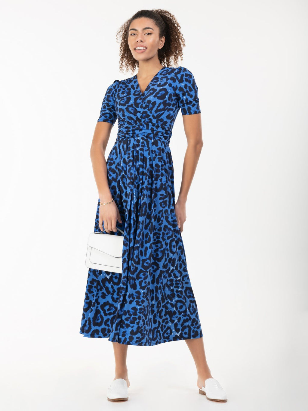 Jolie Moi Animal Print Jersey Maxi Dress, Blue Animal