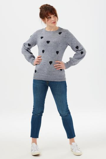 Mandy Love Heart Sweater Blue/Navy Sugarhill