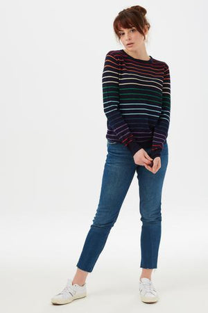 Rowena Triple Stripe Rainbow Sweater Sugarhill
