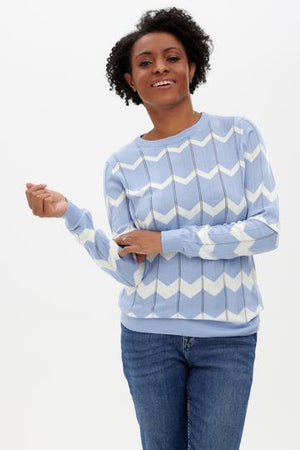 Sugarhill Rita Jumper, Pale Blue, Chevron