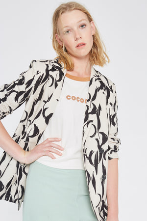 Black Feather Print Blazer  - Wild Pony