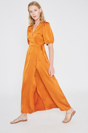 ORANGE SATIN WRAP DRESS WILD PONY