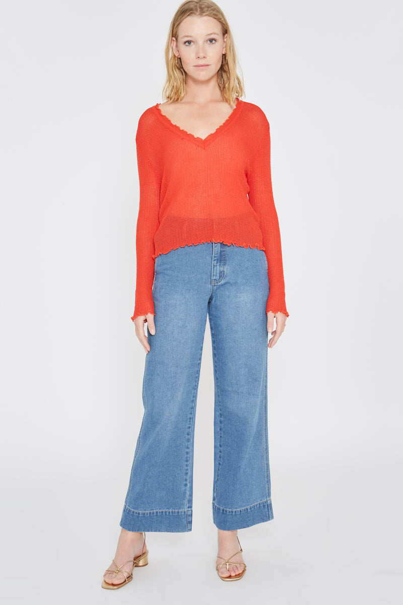 Orange Knit Top Wild Pony