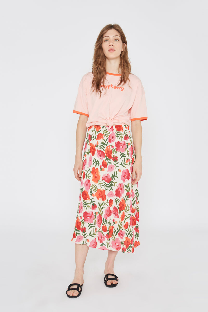 Watercolor Flowers Midi Skirt Wild Pony