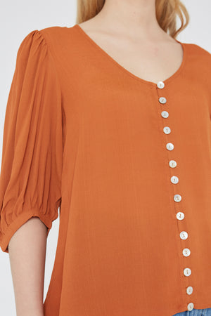 Plain Brown Top with Buttons Wild Pony