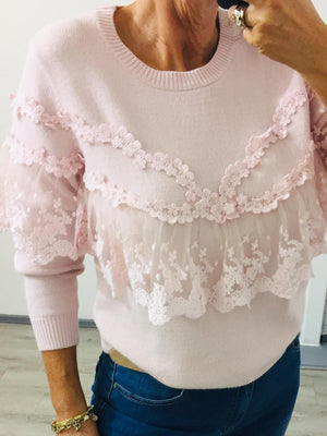 Light Pink Fine Knit Lace jumper