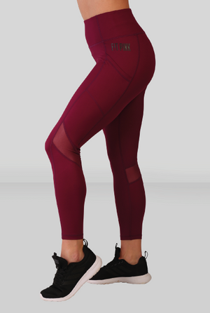 Fit Pink Sports Leggings With Deep side Pockets in Raspberry(Size Down)