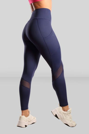 Fit Pink Sports Leggings With Deep side Pockets in Mid Blue (Size Down)