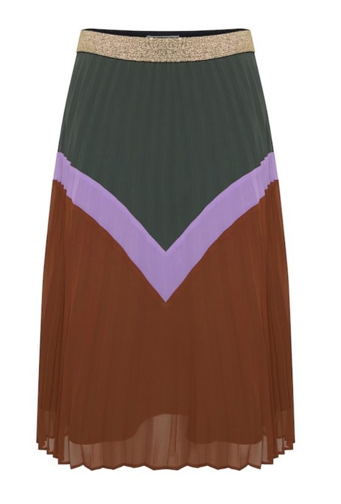 Ichi Pleated Olive V Pattern Skirt