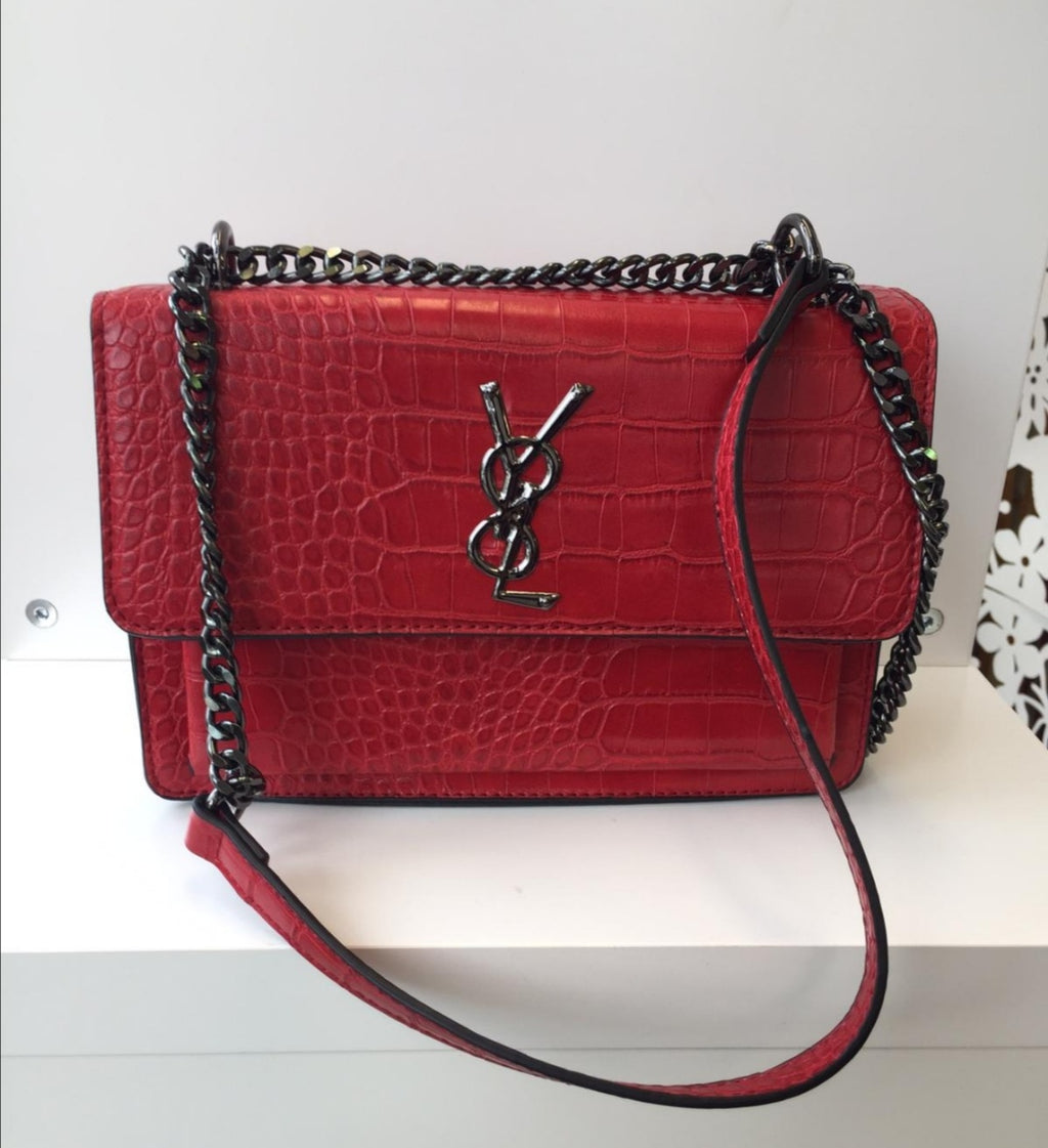 Designer Inspired Red Bag with Gunmetal Strap