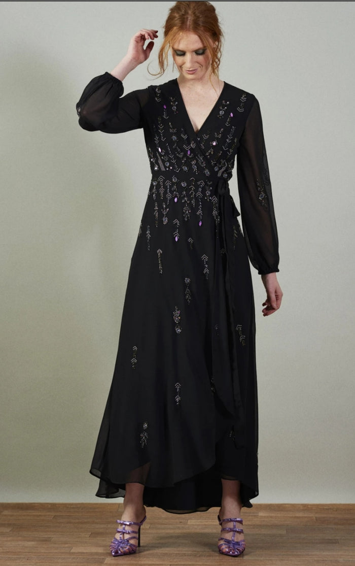 Embellished Black Maxi Dress