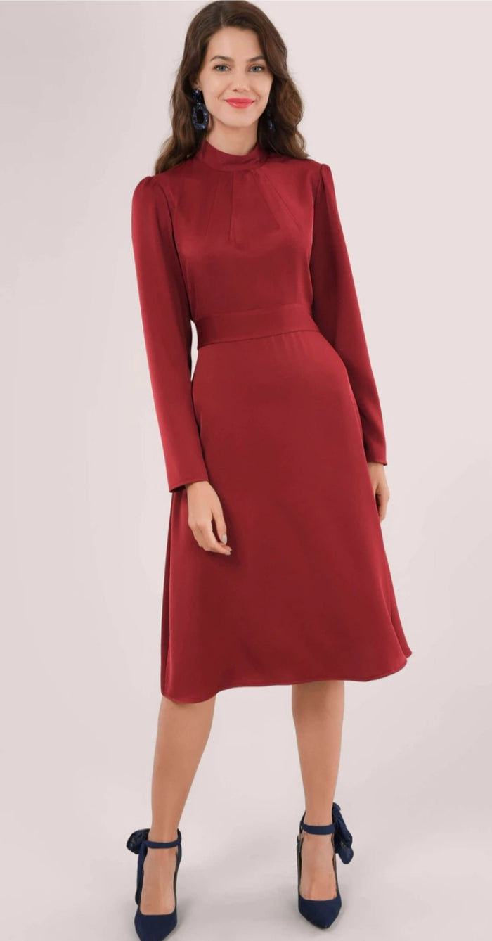Maroon Long Sleeve High Neck Dress