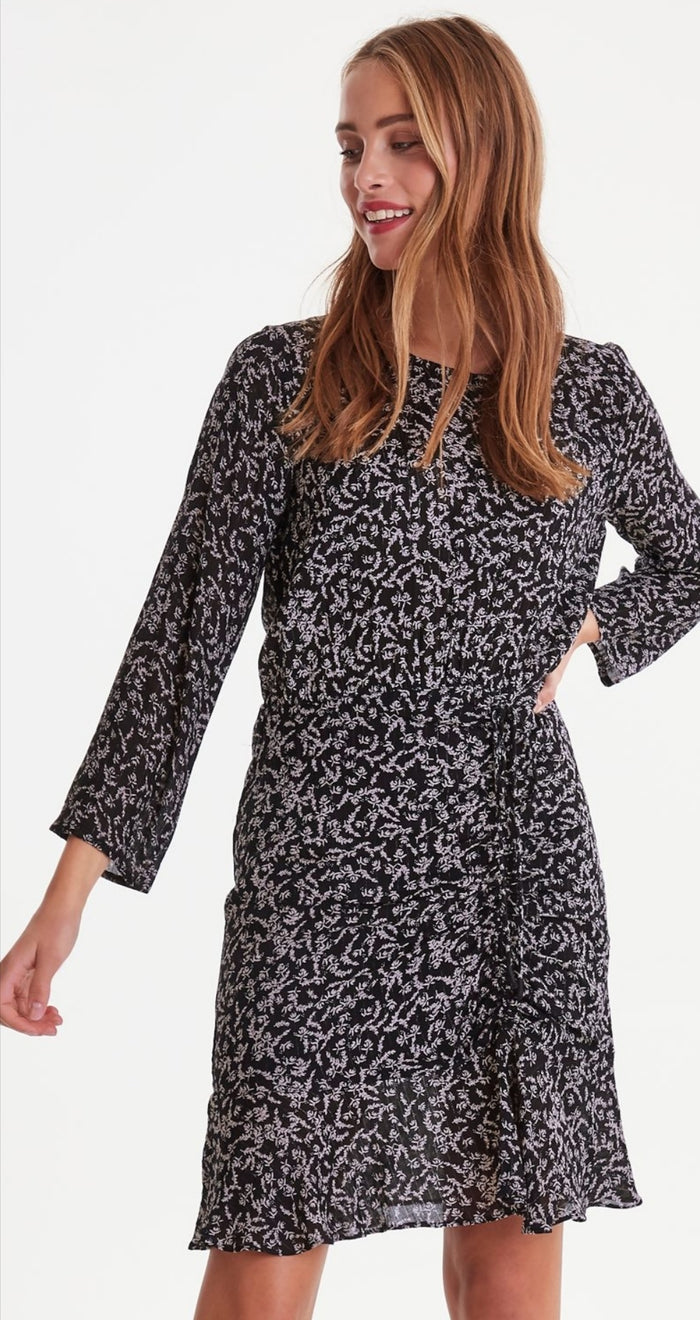 Ichi Black Leaf Printed Dress