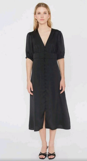 Black Satin Midi Dress Wild Pony