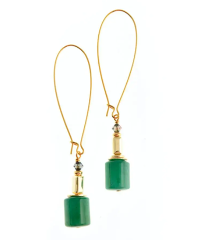 K Kajoux Jewels Wilde Emeralde Drama Earrings  - Long