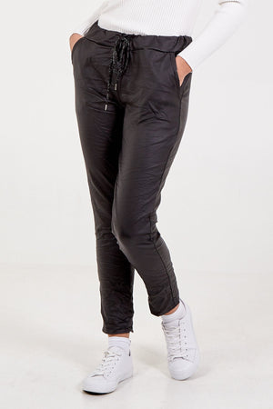 Magic Stretch PU Coated Crushed Trousers- Black