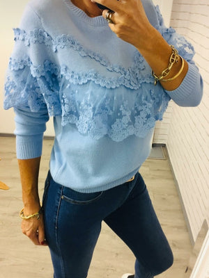 Light Blue Fine Knit Lace Jumper